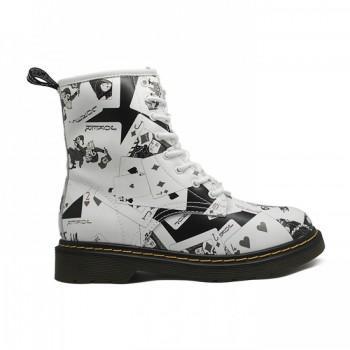 Ботинки Dr. Martens с мехом Белые с Черным