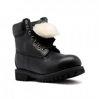 Женские ботинки Timberland 10061 с мехом Черные кожаные