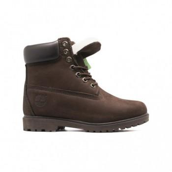 Женские ботинки Timberland 10061 с мехом Коричневые