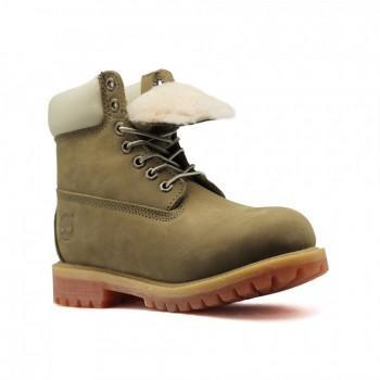 Женские ботинки Timberland 10061 с мехом Кремовый