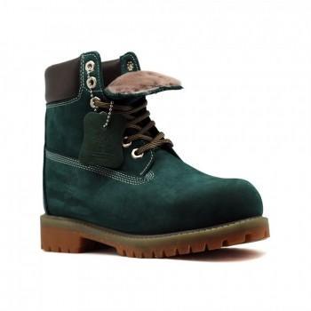 Женские ботинки Timberland 10061 с мехом Изумрудные