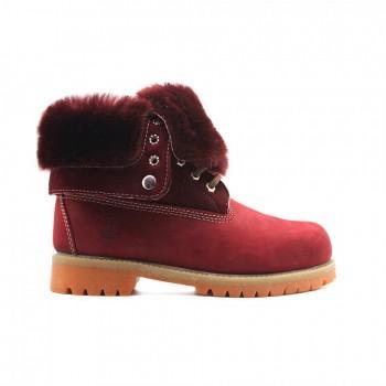 Женские ботинки Timberland с мехом Teddy Albina Бордовые