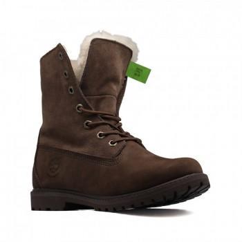 Женские ботинки Timberland с мехом Teddy Fleece Коричневые
