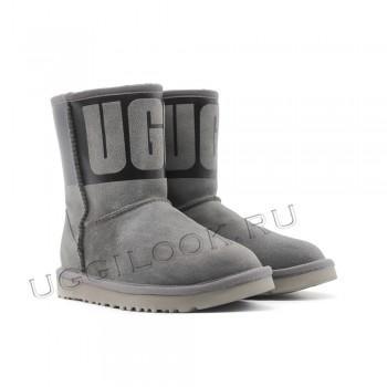 Угги средние с логотипом UGG Серые
