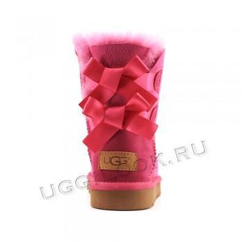 Угги детские непромокаемые с бантиками Розовые