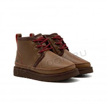Ботинки детские кожаные на шнурках и молнии Neumel Коричневые