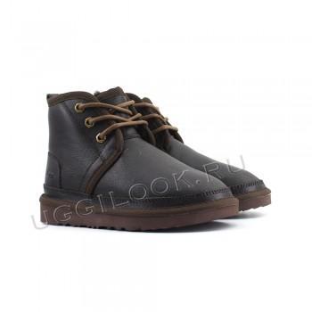 Ботинки детские на шнурках Neumel обливные Коричневые
