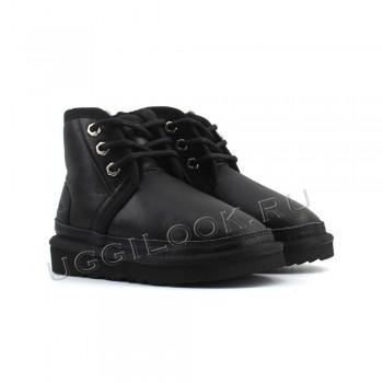 Ботинки детские на шнурках Neumel обливные черные