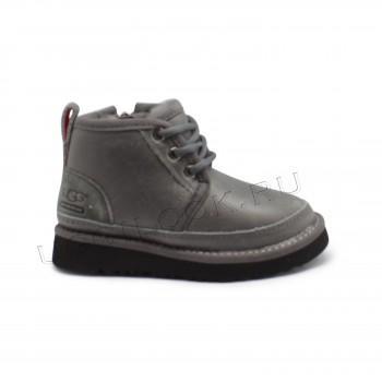 Ботинки детские на шнурках и молнии Neumel кожаные Серые