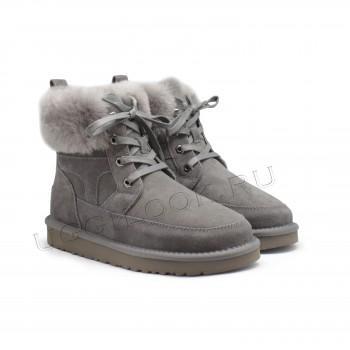 Женские ботинки на шнурках Liana серые