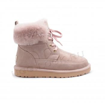 Женские ботинки на шнурках Liana розовые