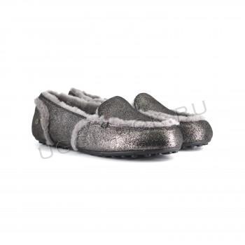 Женские мокасины лоферы Hailey Metallic темно-серые