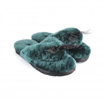 Меховые вьетнамки Fluff Flip Flop Emerald