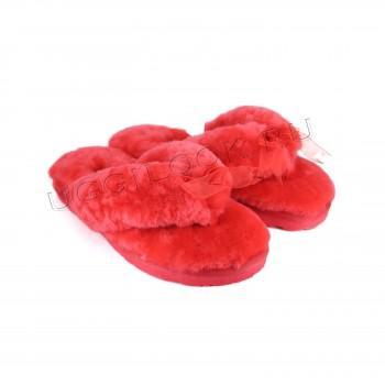 Меховые вьетнамки Fluff Flip Flop Red