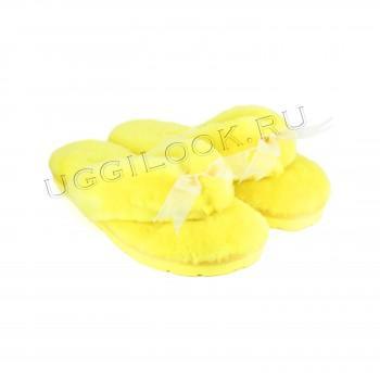 Меховые вьетнамки Fluff Flip Flop Yellow