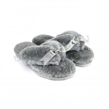 Меховые вьетнамки Fluff Flip Flop Grey