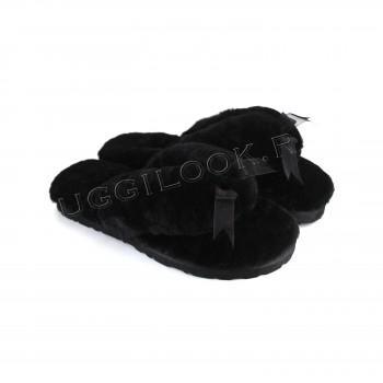 Меховые вьетнамки Fluff Flip Flop Black