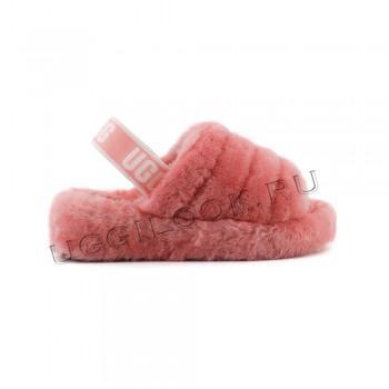Женские меховые тапочки с резинкой Fluff Розовые