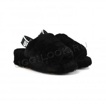 Женские меховые тапочки с резинкой Fluff Черные