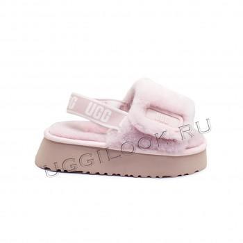Женские меховые тапочки с резинкой Disco Slide Pink