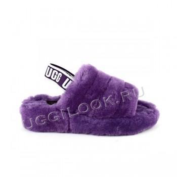 Женские меховые тапочки с резинкой Fluff Фиолетовые