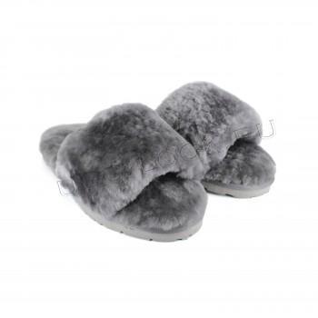 Женские меховые тапочки Fluff Slides Серые