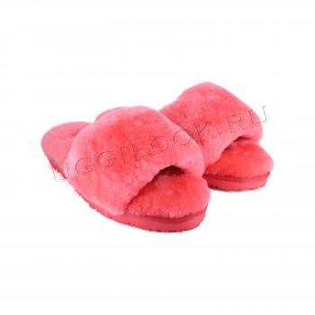 Женские меховые тапочки Fluff Slides Коралловые