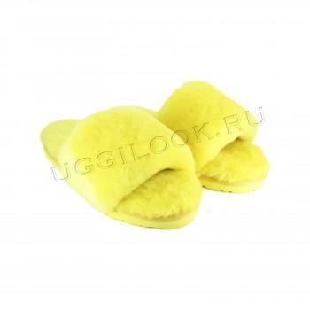 Женские меховые тапочки Fluff Slides Желтые
