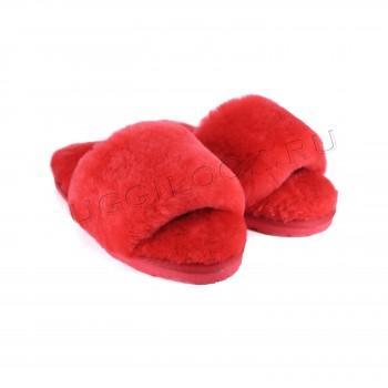 Женские меховые тапочки Fluff Slides Красные