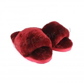 Женские меховые тапочки Fluff Slides Бордовые