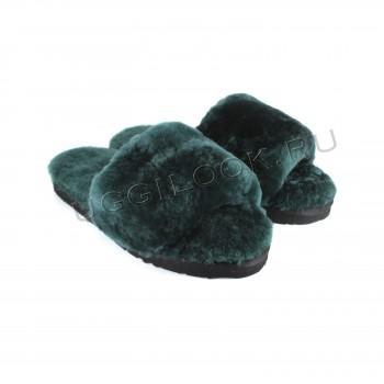 Женские меховые тапочки Fluff Slides Зеленые