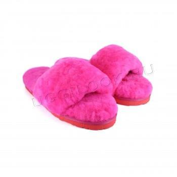Женские меховые тапочки Fluff Slides Розовые