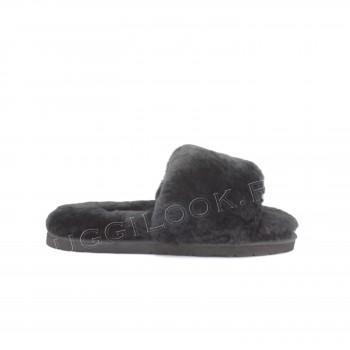 Женские меховые тапочки Fluff Slides Black
