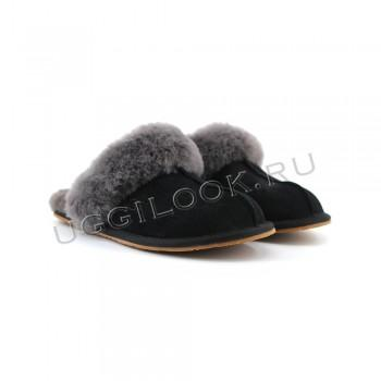 Женские меховые домашние тапочки Черные
