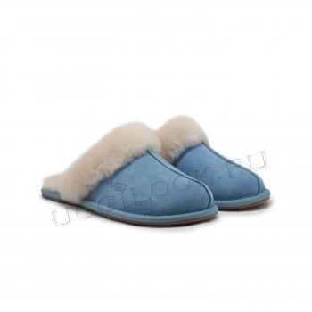 Женские меховые домашние тапочки Голубые
