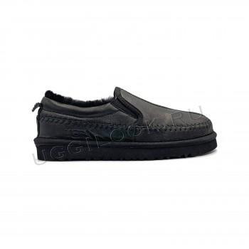 Мужские слипперы Tasman кожаные Черные